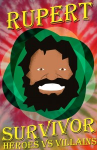 A Retro Style Poster of Survivor Contestant Rupert
